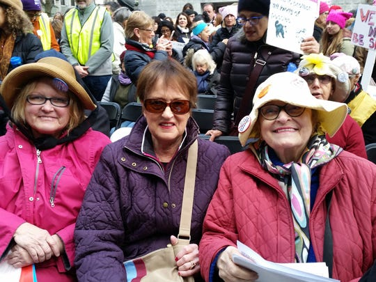From left, sisters Mary and Maureen Griffin, and Shirley Littman, from Long Island at the Women's March on New York City.