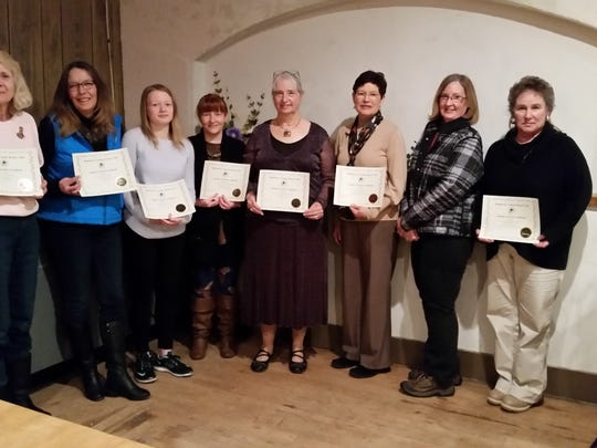 Manitowoc County Kennel Club winners included Mary Larson (from left), Donna Kerr, Emily Paplham, Sara Hallam, Debbie Rivest, Laurale Stern, Laurie Sales and Annette McDonald. (Winners not pictured: Sharon Bruckschen, Laura Inman, Sue Koehler, Karen Smith, Nancy Sawdo, Carol Paplham, Kay Detempel, Jeanine Montag, Jim and Judy Powers, Angela Chetcuti, Elizabeth Paape, Jim Coggins, Bill Resch, Joe Wondergem and Linda Bunkfeldt-Popp.)