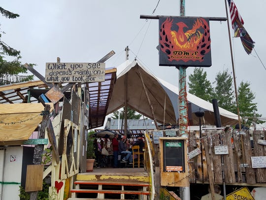 Tom's Burned Down Cafe is a funky outdoor bar in La Pointe on Madeline Island.