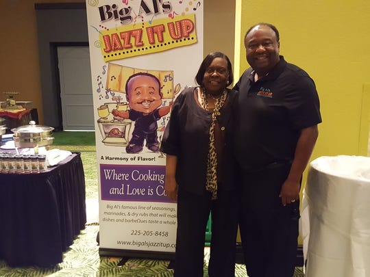 Caddo School Board member Dottie Bell (left) with Chef Big Al Barron, the creator of Big Al's Jazz It Up Seasoning.