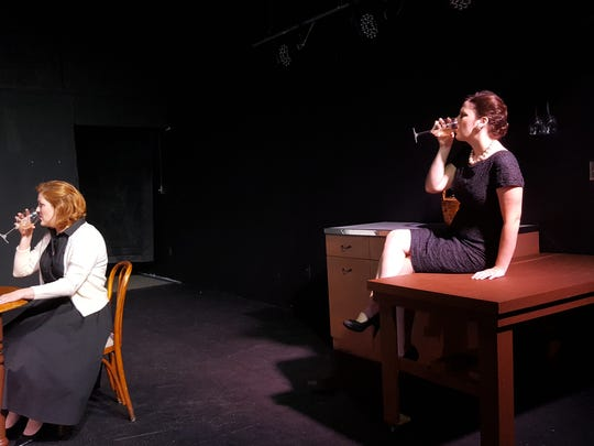 """From left, Gennie Adams, playing Elizabeth Gould, and Rebecca Oates, playing Sonja Doumanian, during a rehearsal for """"Return to Values"""" being staged Friday and Saturday."""