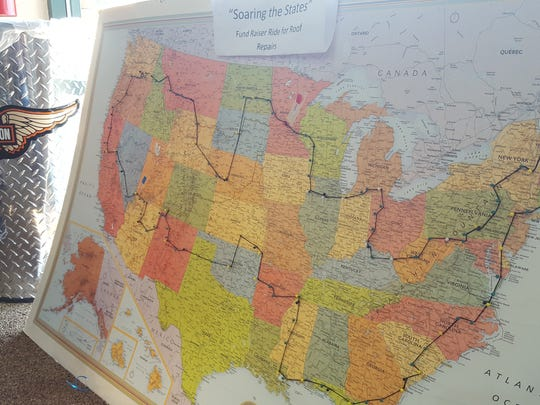 A map shows the route Mike Spaude took through 48 states to raise funds for a veteran's organization.