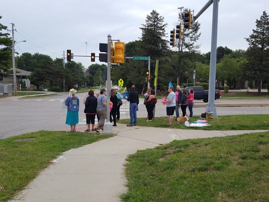 A protest outside Valley High School on August 26, 2017 in response to Senator Ernst and Governor Reynold's induction into the Iowa Women's Hall of Fame