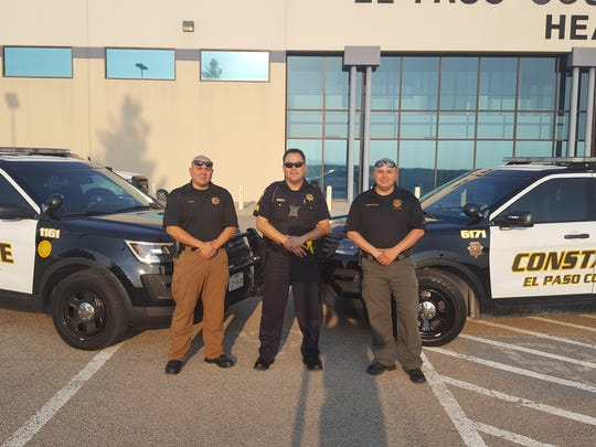 Deputy Jorge Sandoval (left), Sergeant Francisco Almada, Constable Javier Garcia are headed to Houston to help in the aftermath of Hurricane Harvey.