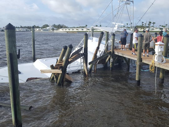 The Sea Lion, a 1963-built 53-foot Whiticar, owned and recently restored by Martin County residents and business partners Phil Anson, Bob Greene and others, sank at its dock in Jensen Beach Sunday after a piling snapped off.