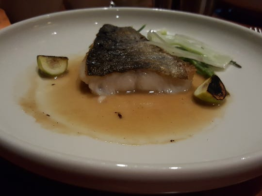 Lightly seared ling cod.
