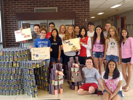 Upper Saddle River Cavallini students collected over 1000 cans of food and raised close to $400 for the Center for Food Action.