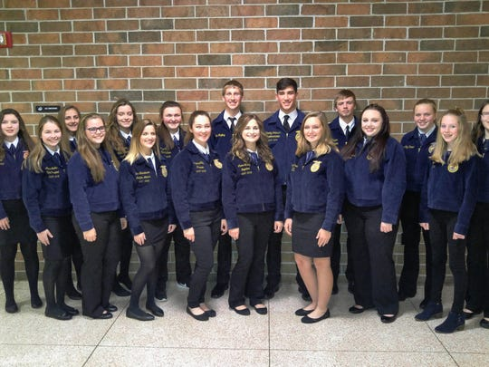 Pictured, from left:Reedsville FFA members Charlotte Ross, Alyssa Laabs, Maddie Nimocks, Elizabeth Bubolz, Rachel Fogeltanz, Emma Christianson, Olivia Vogel, Alandra Cady, Cade Hafkey, Claire Bubolz, Noah Roffers, Megan Thelen, Taylor Korstad, Jessica Blashka, Ashley Vogel, Makayla Loppnow and Emily Cohan.