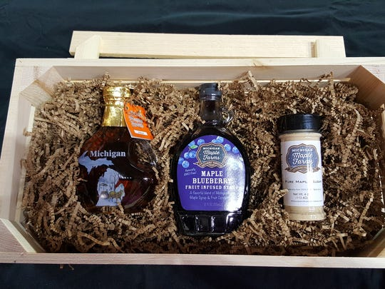 A gift box of maple syrup products