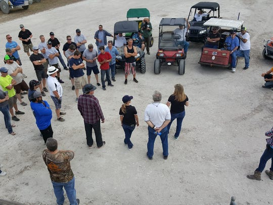 Swamp buggy drivers gather for a meeting at Florida Sports Park before qualifications for the Winter Classic on January, 27, 2018.