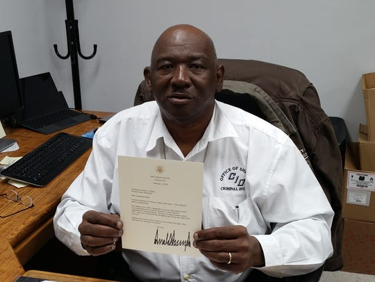 """Lt. Lorenzo """"Rennie"""" Miles received a letter from President"""