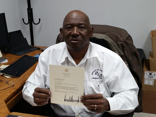 "Lt. Lorenzo ""Rennie"" Miles received a letter from President Donald Trump on Feb. 14, 2018, encouraging him ""to stay strong"" in his ""brave battle"" with cancer."