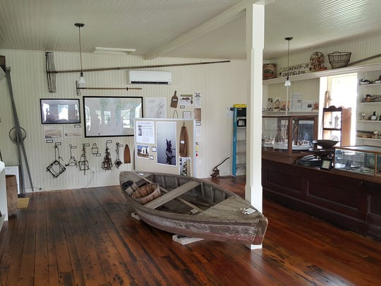 An interior view of Crockett Store in Saxis, Virginia after the store was restored to its original 1910-era appearance.