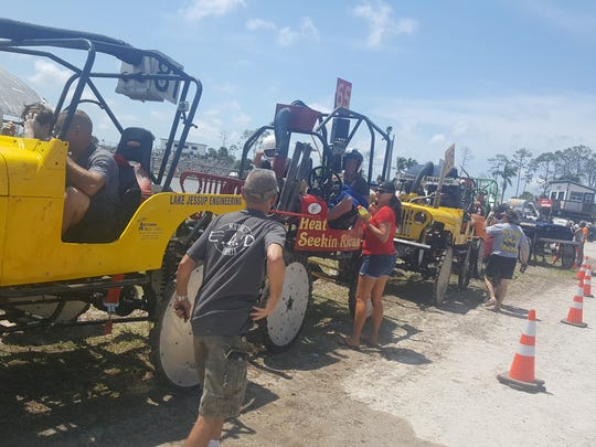 Jeeps come off the track Saturday, April 7, 2018, at