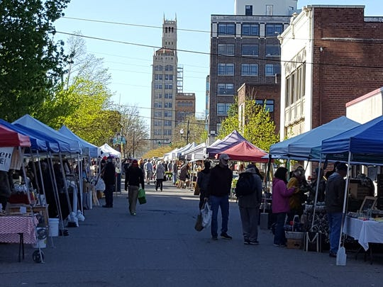 Asheville City Market is open Saturday mornings on Market Street downtown.