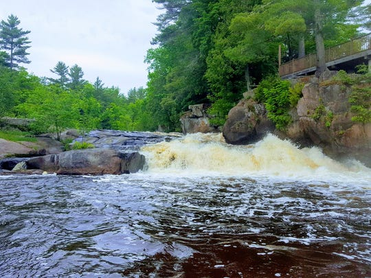 Big Smokey Falls is the final set of rapids rafters encounter on a trip on the Wolf River in Menominee County.