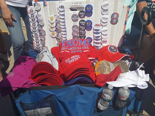 Trump merchandise is for sale before the rally for the president at Four Seasons Arena in Great Falls.