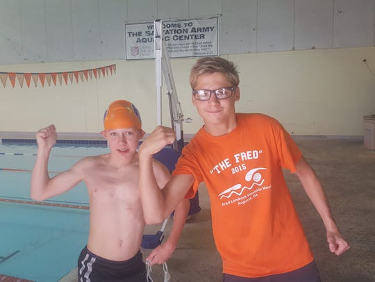 Dorian Babcock, left, and Anthony Penzone had outstanding performances for Seastars Aquatics at the recent Southeastern Swimming Championships and will join GPAC team members at the zone championship meet in Midland, Texas