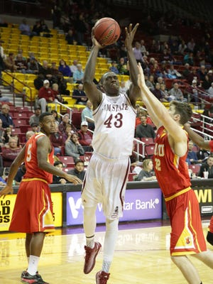 New Mexico State's Pascal Siakam (43) did a pre-draft workout with the Denver Nuggets on Friday.