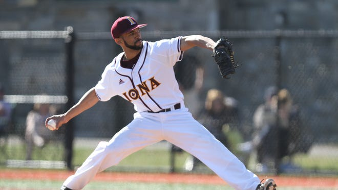 Iona's Mariano Rivera Jr., shown here pitching against Quinnipac at City Park in New Rochelle on April 12, 2014, was named the 2015 MAAC Pitcher of the Year.