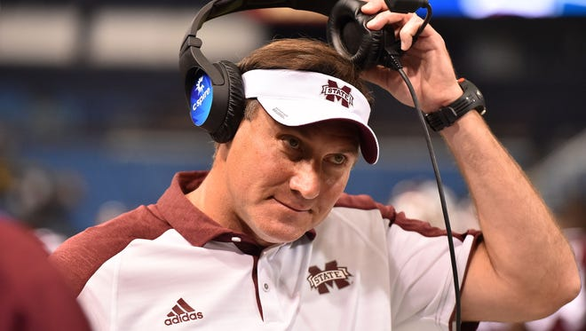 Dec 26, 2016; St. Petersburg, FL, USA; Mississippi State Bulldogs head coach Dan Mullen reacts in the game against the Miami Redhawks during the first half at Tropicana Field. Mandatory Credit: Jasen Vinlove-USA TODAY Sports