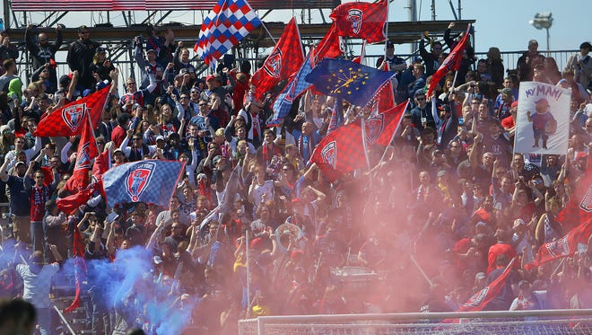 The Brickyard Battalion celebrates a goal by Indy Eleven forward Justin Braun in the first half of their NASL soccer match against Puerto Rico FC Saturday, April 1, 2017, afternoon at Carroll Stadium on the campus of IUPUI.
