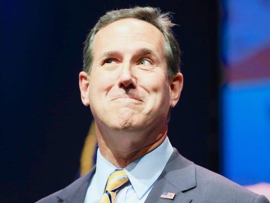 Former Pennsylvania Sen. Rick Santorum speaks at the Iowa Faith & Freedom 15th Annual Spring Kick Off, in Waukee, Iowa on April 25, 2015.