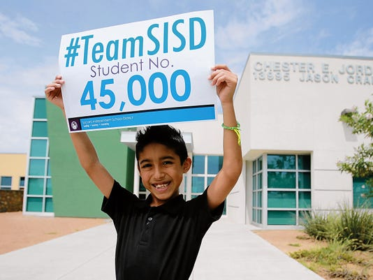 Leonardo Alvarez is Socorro Independent School District's 45,000th student to enroll this year. He received a special gift basket.