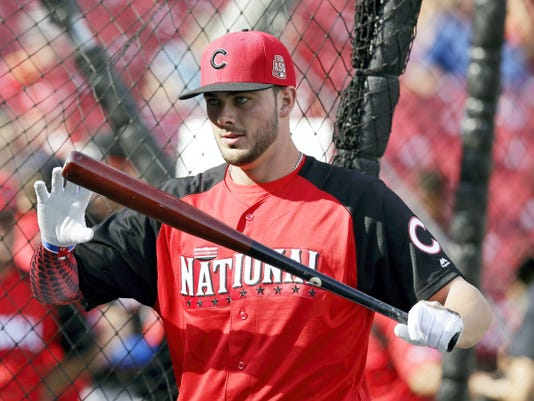 National League's Kris Bryant of the Chicago Cubs holds his bat during batting practice for the MLB All-Star Game on Monday in Cincinnati.