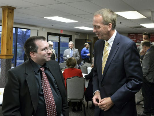 Tannon Miller, left, who serves on the executive committee of the Lebanon County Republican Committee, visits with Pennsylvania Senate Majority Whip John Gordner prior to the GOP Fall Dinner held Monday evening at the Fort Indiantown Gap Community Center. Gordner was the keynote speaker for the annual affair.