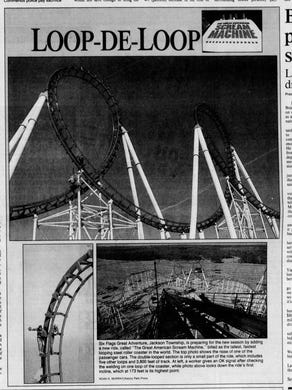 1989: The March 21, 1989 edition of the Asbury Park Press covered the opening of the Great American Scream Machine roller coaster at Six Flags Great Adventure.