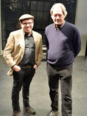 """Edward Einhorn (left) with Paul Auster on the set for """"City of Glass"""" at the New Ohio Theatre."""