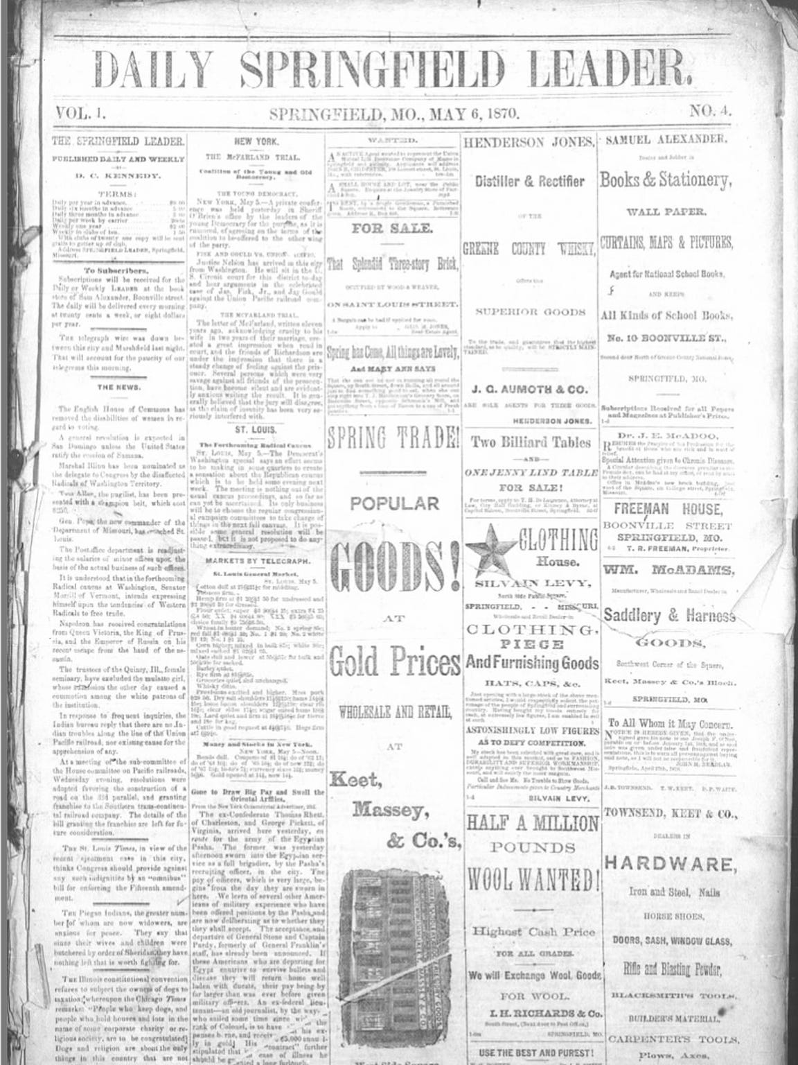 May 6, 1870, edition of the Leader.