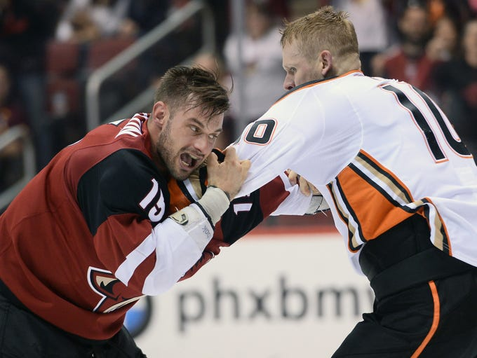 April 7: Arizona Coyotes forward Brad Richardson (15)