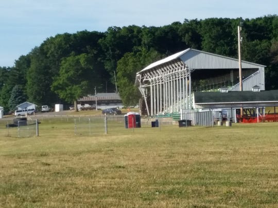 The 80-year-old Ingham County Fair grandstand in Mason has been demolished. A set of bleachers will replace in time for this year's fair, which runs Aug. 1-6.