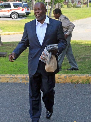 Spring Valley Mayor Demeza Delhomme talks to the media after being released from jail in New City on Aug. 5, 2014.
