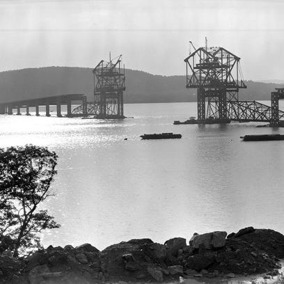The first Tappan Zee Bridge under construction.