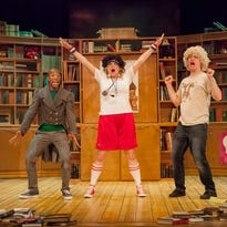 """Justin McCombs in Cincinnati Shakespeare Company's production of """"All the Great Books (abridged),"""" directed by Jeremy Dubin."""