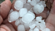 Hail in Mt. Pleasant during a severe weather storm.