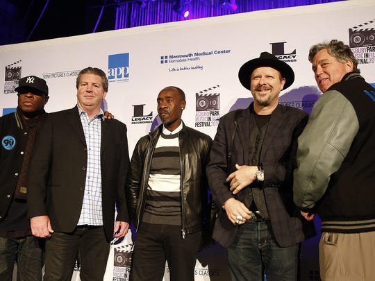Gathering before the showing of 'Miles Ahead' at the Paramount Theater in Asbury Park Friday evening, April 8, 2016, are (l-r): Miles Davis' nephew Vincent Wilburn, Jr., Asbury Park Press President & Publisher Tom Donovan, Actor Don Cheedle, photographer Danny Clinch and Sony Pictures Classics co-president Tom Bernard.