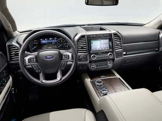 An interior view of the 2018 Ford Expedition.