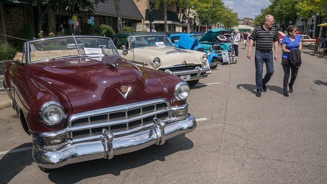 A 1949 Cadillac convertible, on display at the Plymouth Fall Festival.