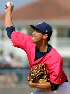 Blue Wahoos pitcher Robert Stephenson pitches to Alfredo Lopez Sunday during play against the Jacksonville Suns at Pensacola Bayfront Stadium.