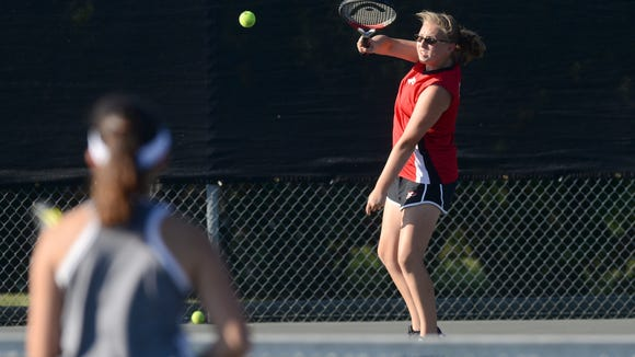 Pisgah's Allison Merrell returns a ball during Tuesday's match against Smoky Mountain in Canton.