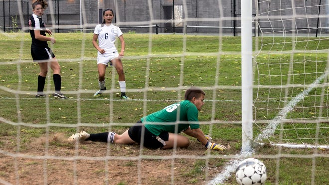 Camille Barber's goal in the 51st minute gave Sacred Heart a 2-0 edge over duPont Manual in the 7th Region Soccer Final on Saturday afternoon. 10/21/17