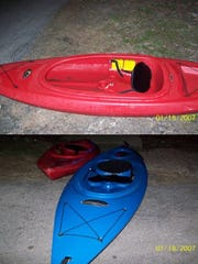 State police shared a photo of the kayaks Angelika Graswald and Vincent Viafore used on the day of his death at a 2015 press conference. Viafore was in the blue kayak, police said.