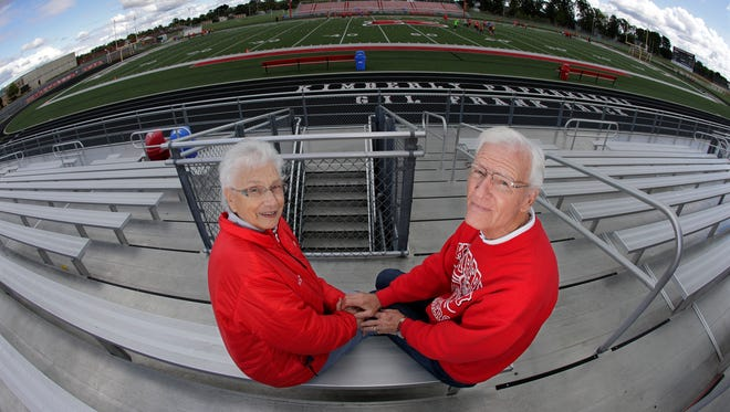 Pat and Jim Vandehey have been attending Kimberly football games since they were in high school. They sit in the same seats for every game at Papermaker Stadium. Pat is 84 and Jim is 83.