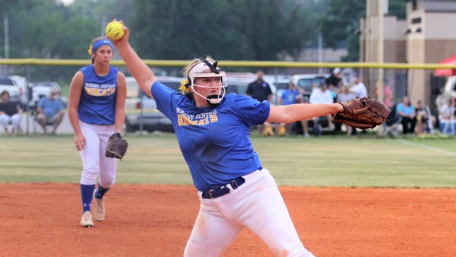 Katie Turner throws a pitch during McNairy Central's 2-1 win over Dyersburg in the Region 7-AA championship game on May 16.