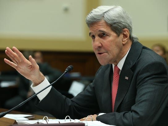 Secretary of State John Kerry speaks before the House