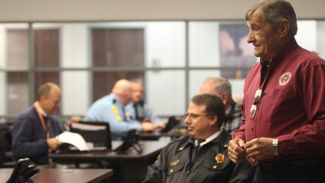 Emergency Management Director Jerry Buchanan and representatives from city, county, state and federal agencies meet Tuesday morning for a briefing about snow that could impact the Clarksville area Wednesday morning